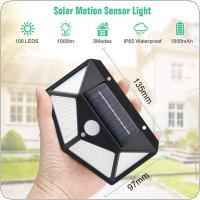 100 LED Four-Sided Solar Power Light 3 Modes 270 Degree Angle Illumination Motion Sensor Wall Lamp Outdoor Waterproof Yard Garden Lamps