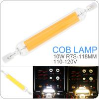 10W 118MM 110-120V R7S Mini Glass 360 Degrees Dimmable Warm White / Cool White with Horizontal Plug COB Replace Halogen Lamp