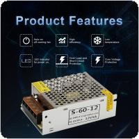 DC 12V 5A 60W Aluminum Alloy Switch Power Supply Driver Adapter / Source Transformer for LED Strip Light / Industrial  /  Monitoring Equipment