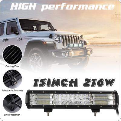 15 Inch 216W Triple Row IP67 Combo Beam LED Light Bar Car Work Light for Car Tractor Boat OffRoad Off 4WD 4x4 Truck SUV ATV Driving