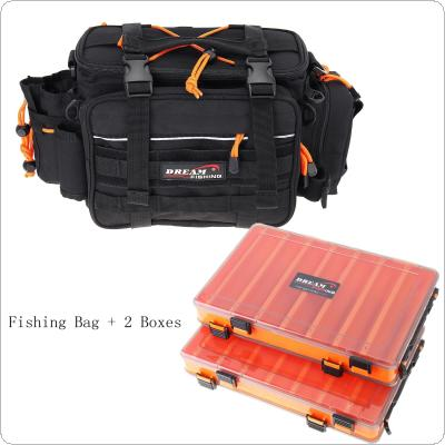 29 x 22 x 18cm Multifunctional Waist Shoulder Messenger Fishing Tackle Bag with 2 Double Sided Lures Box
