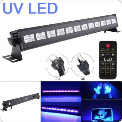 36W 12 LEDs UV Black Light Remote Control Purple Light Bar with Automatic / Voice Control / DMX512 for Stage / Disco / Club Party / Christmas / Halloween