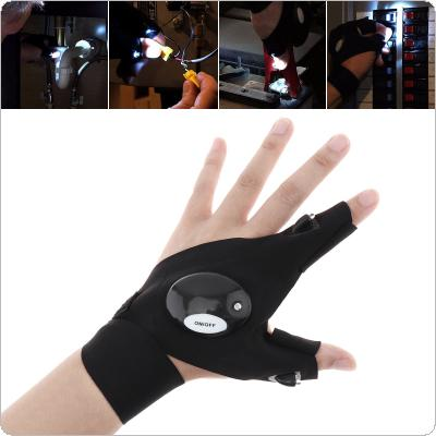 Left Hand Black Adjustable Elastic Cotton Repairing Finger Light Fishing Magic Strap Finger Glove LED Flashlight for Survival Camping Hiking Rescue Tool