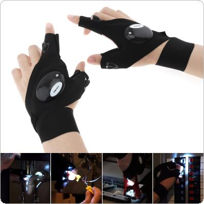 Left + Right Hand Black Adjustable Elastic Cotton Repairing Finger Light Fishing Magic Strap Finger Glove LED Flashlight for Survival Camping Hiking Rescue Tool