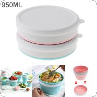 950ML 2 Colors Portable Circular Silicone Scalable Folding Lunchbox Bento Box for - 40 Centigrade ~ 230 Centigrade