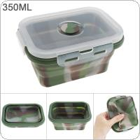 350ML Camouflage Color Portable Rectangle Silicone Scalable Folding Lunchbox Bento Box with Silicone Sealing Plug for - 40 Centigrade ~ 230 Centigrade