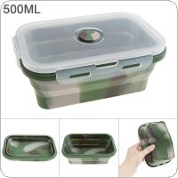 500ML Camouflage Color Portable Rectangle Silicone Scalable Folding Lunchbox Bento Box with Silicone Sealing Plug for - 40 Centigrade ~ 230 Centigrade