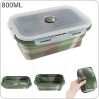 800ML Camouflage Color Portable Rectangle Silicone Scalable Folding Lunchbox Bento Box with Silicone Sealing Plug for - 40 Centigrade ~ 230 Centigrade