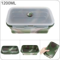1200ML Camouflage Color Portable Rectangle Silicone Scalable Folding Lunchbox Bento Box with Silicone Sealing Plug for - 40 Centigrade ~ 230 Centigrade