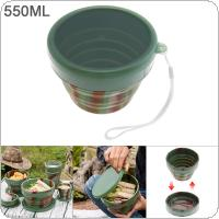 550ML Camouflage Color Portable Circular Silicone Scalable Folding Lunchbox Bento Box for - 40 Centigrade ~ 230 Centigrade