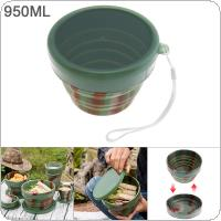 950ML Camouflage Color Portable Circular Silicone Scalable Folding Lunchbox Bento Box for - 40 Centigrade ~ 230 Centigrade