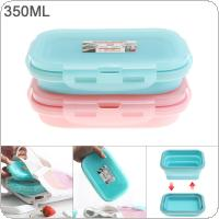 350ML 5 Inch 2 Colors  Portable Rectangle Silicone Scalable Folding Lunchbox Bento Box for - 40 Centigrade ~ 230 Centigrade
