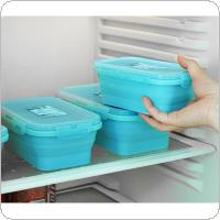 500ML 6 Inch 2 Colors Portable Rectangle Silicone Scalable Folding Lunchbox Bento Box for - 40 Centigrade ~ 230 Centigrade