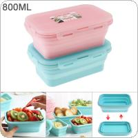 800ML 7 Inch 2 Colors Portable Rectangle Silicone Scalable Folding Lunchbox Bento Box for - 40 Centigrade ~ 230 Centigrade