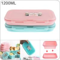 1200ML 8 Inch 2 Colors Portable Rectangle Silicone Scalable Folding Lunchbox Bento Box for - 40 Centigrade ~ 230 Centigrade