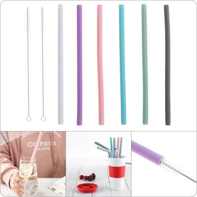 6pcs/set  Universal Long Reusable Flexible Multi-colored Straight Silicone Drinking Straws with Cleaning Brushes for  - 40 Centigrade ~ 230 Centigrade