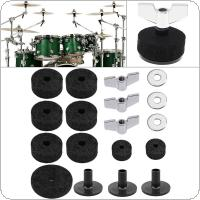 18pcs Jazz Drum Cymbal Felt Pads Parts Replacement Kits with Cymbal Sleeves & Wing Nuts & Washers & Wool Felt Pads