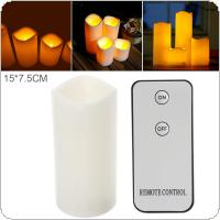 15 x 7.5CM Flameless LED Candle Light with Remote Home Tea Light Candle for Weddings Christmas Festival Celebration Parties Gifts