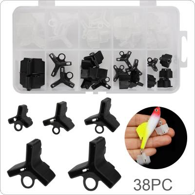 38pcs Fishing Treble Hooks Covers Case Caps Black & White Colour Mixed Bait Hooks Safety Protector Set for 1/0#-10# Hook