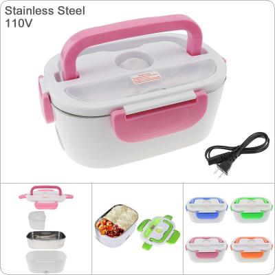 110V 1.5L Split-type Stainless Steel + ABS Portable Food Warmer Heating Keeping Electric Lunch Box with Spoon / US Charging Line