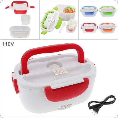110V 1.5L One-piece Type Portable Food Warmer Heating Keeping Electric Lunch Box with Spoon / US Charging Line