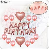 1 Set 16 Inch Aluminum Foil Rose Gold Happy Birthday Letter Balloon Birthday Party Decoration with Ribbon and Glue Dots
