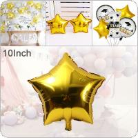 10 Inch Aluminum Foil Gold Five Pointed Star Balloon Birthday Party Decoration