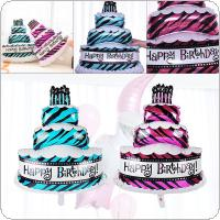 2 Color Aluminum Foil Birthday Three Layer Cake Balloon Birthday Party Decoration