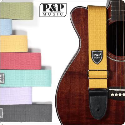 Adjustable Pure Cotton Colorful Acoustic Guitar Strap with Leather Head 7 Colors Optional