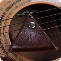 Genuine Leather Triangle Guitar Ukulele Picks Plectrums Pocket Cover Case Storage Soft Bag Keychain Shape Guitar Accessories