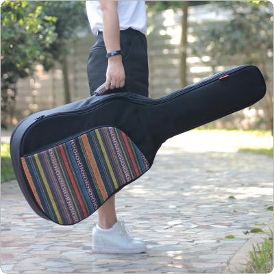 40 / 41 Inch Splicing Folk Style Knitted Acoustic Guitar Case Gig Bag Double Straps Pad Cotton Thickening Soft Cover Waterproof Backpack