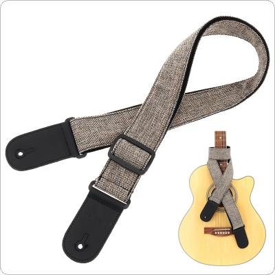 PU Leather Head Cotton & Linen Guitar Strap Double Fabric with Plectrum Pocket for Acoustic Electric Bass Guitar