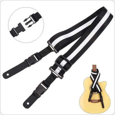 Black & White Nylon Guitar Strap with Double Buckle Genuine Leather Head for Acoustic Electric Bass Guitar