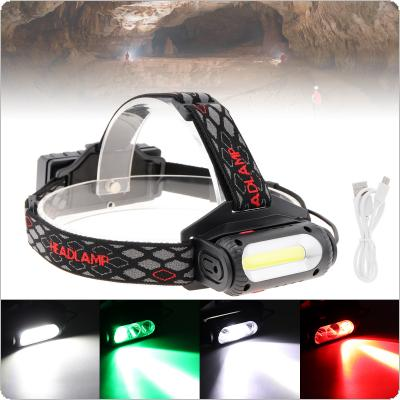 20W 2000 Lumens Rechargeable Micro USB Headlamp COB LED + T6 White + Green + Red Light Focusing Headlight with 8 Lighting Modes for Hunting / Patrolling