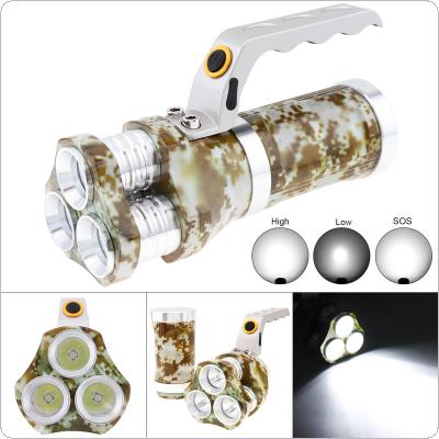 Waterproof 3 Modes Light 3000 Lumens 3 XML-T6 LED Handheld Torch Tactical Flashlight Searchlight with 3.5mm Interface Charging  for Outdoor Hunting / Patroling