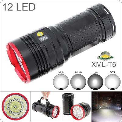 Waterproof Power Display 8000 Lumens 12 x XREML T6 LED Tactical Flashlight Spotlight Lamp Torch with 4 Modes Light for Outdoor Hunting / Camping