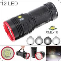 Waterproof Power Display 8000 Lumens 12 x T6 LED Tactical Flashlight Spotlight Lamp Torch with 4 Modes Light for Outdoor Hunting / Camping