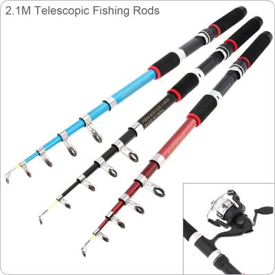 2.1m Ultra Short Telescopic Casting Fishing Rods Glass Fiber 6 Section Portable Sea Fishing Pole