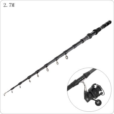 2.7m Carbon Fiber Telescopic Fishing Rods Fasten Guides Ultra Short 9 Section Portable Fishing Pole