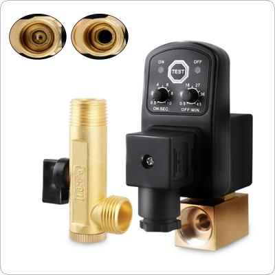 "AC 220V 1/2"" Brass Electronic Drain Valve Split type Valve with Timer OPT and Two-way Two position for Air Compressor / Cooler"