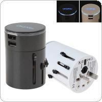 DiGiYes All in One Universal World Travel Power Plug Adapter [US UK EU AU] Worldwide Wall AC Outlets Charger With Dual USB Charging Ports & LED Light
