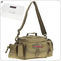 Multifunctional Waist Shoulder Messenger Fishing Tackle Bag with 2 Double Layer Lures Boxes