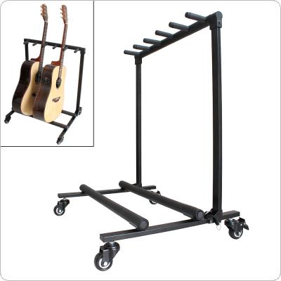 Removable Aluminum Alloy Floor Guitar Stand with Roller for Display 5pcs Acoustic Electric Guitar Bass