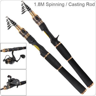 1.8m Carbon Fiber Lure Fishing Rod Power M Ultra Short 6 Section Spinning / Casting Fishing Pole
