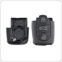 3 Buttons Car Key Fob Case Shell Replacement with HAA Blade Flip Folding Remote Cover Fit for Audi A2 A3 A4 A6 A8 TT