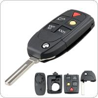 5 Buttons Car Key Fob Case Shell Replacement Flip Folding Remote Cover Fit for VOLVO S60 S80 V70 XC70 XC90