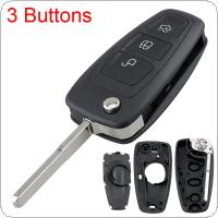 3 Buttons Car Key Fob Case Shell Replacement with HU101 Blade Flip Folding Remote Cover Fit for Ford MONDEO FOCUS S MAX FIESTA