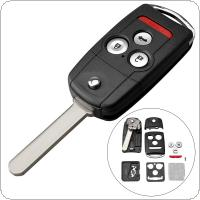 4 Buttons Car Key Fob Case Shell Replacement Flip Folding Panic Button Remote Cover with HON66 Blade Fit for Acura