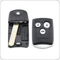 3 Buttons Car Key Fob Case Shell Replacement Remote Cover with HON66 Blade Fit for Honda Civic Accord Jazz CRV