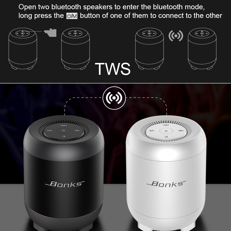 Wireless Mini Bluetooth Speaker AI Intelligent Voice Control and Built-in Bass enhanced Diaphragm HiFi Sound Effect Support Bluetooth TF AUX USB